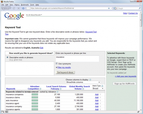 The google Keyword Generator